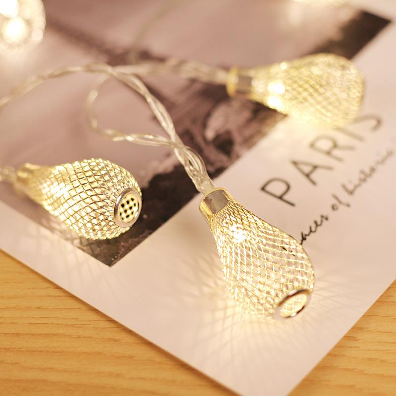 10/20/40 LED's Lichtslingers, op batterijen werkend Kerstmissfee licht, holle waterdruppel lantaarn Lamp voor kerst Bruiloft Festivaldecoratie Afmeting: gouden 40 LED