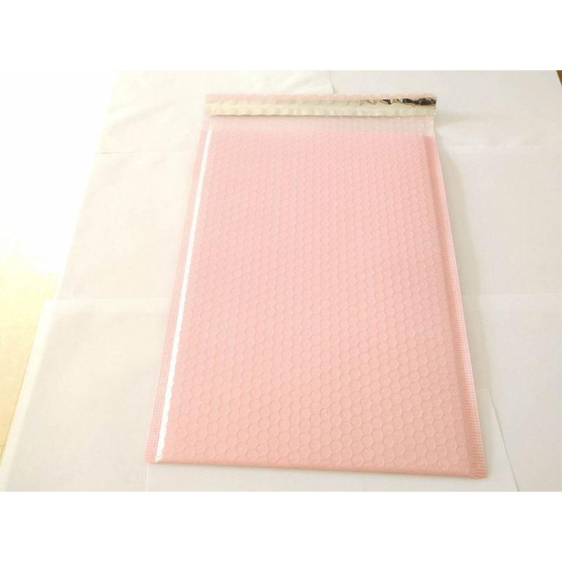 50 Fabrieksgroothandel op maat bedrukte roze gekleurde plastic bubbel postzak opgevulde envelop / metallic