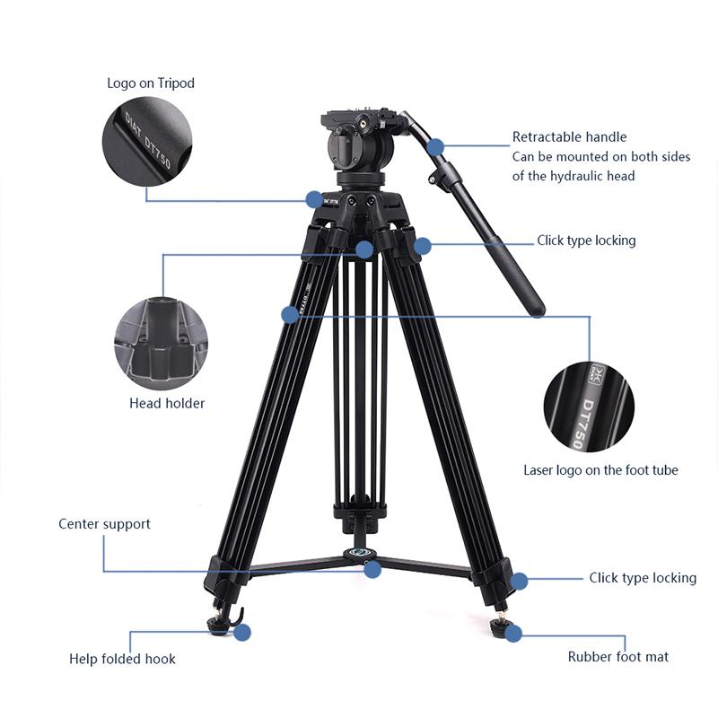 DIAT nieuwe DT750 videocamera ondersteunt statief drie secties 1.7 meter hoog DSLR zwaar statief