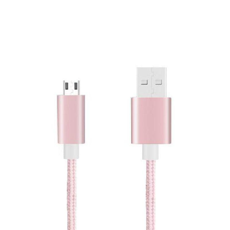 Opladen van nylon gevlochten microkabel naar USB