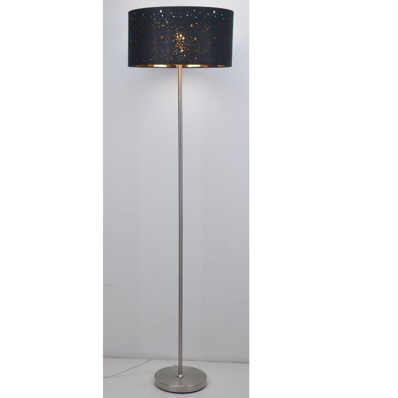 Vloerlamp met lasergesneden zwarte stoffen kap