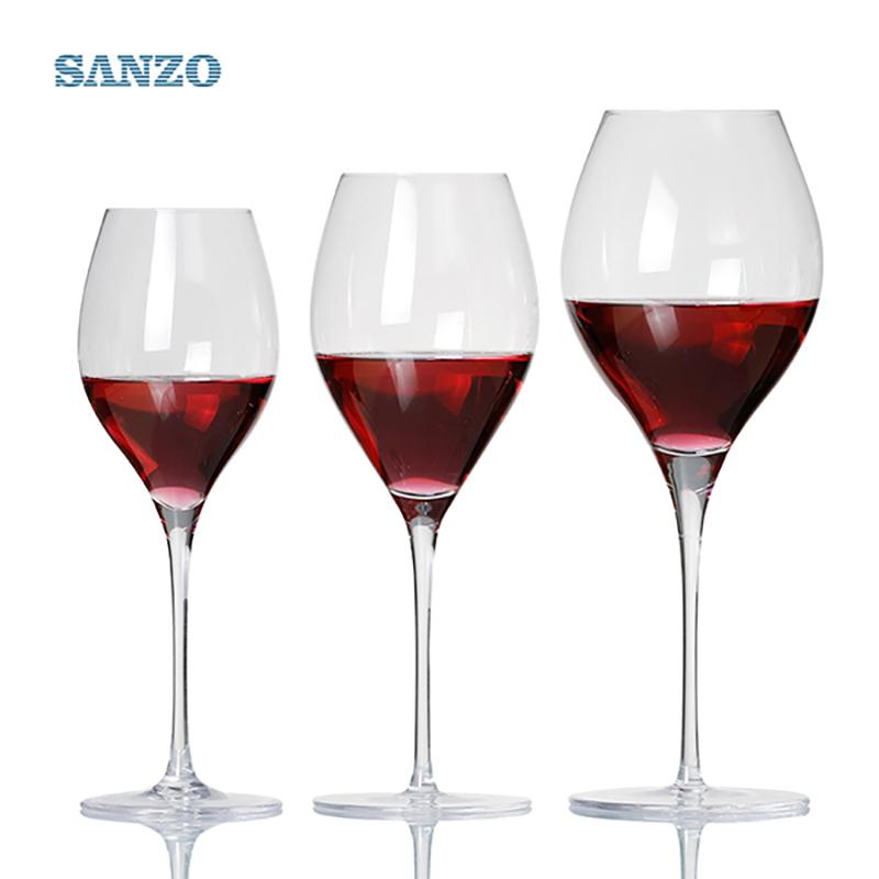 SANZO zwarte stam Lismore ballon wijnglas handgemaakt loodvrij kristal gegraveerde glazen dikke glazen