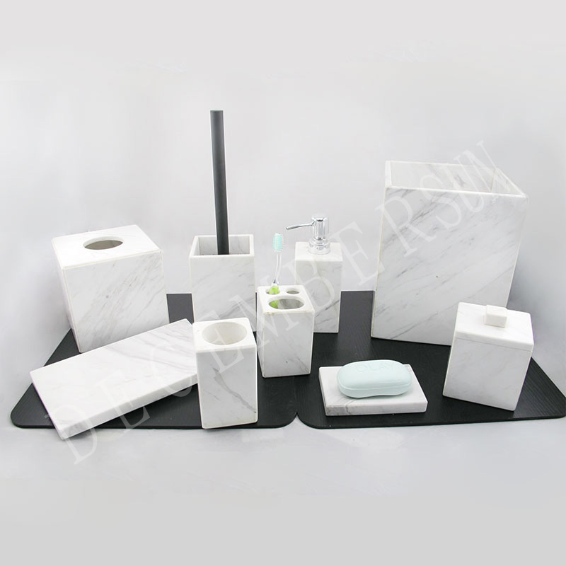 Witte marmeren badkameraccessoires set