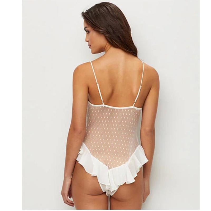 sexy lingerie bh, sexy lingerie zwart, sexy lingerie bh voor vrouwen Sexy Gallus Witte pure bloemenkant en mesh Laag uitgesneden ruige paaldansen lingerie
