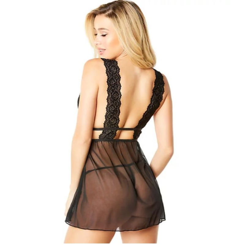 sexy lingerie jurk voor vrouwen, sexy lingerie jurken voor vrouwen voor seks, sexy lingerie aankleden voor vrouwen Charmante zwarte bloemen kant laag uitgesneden pure mesh Babydoll lingerie