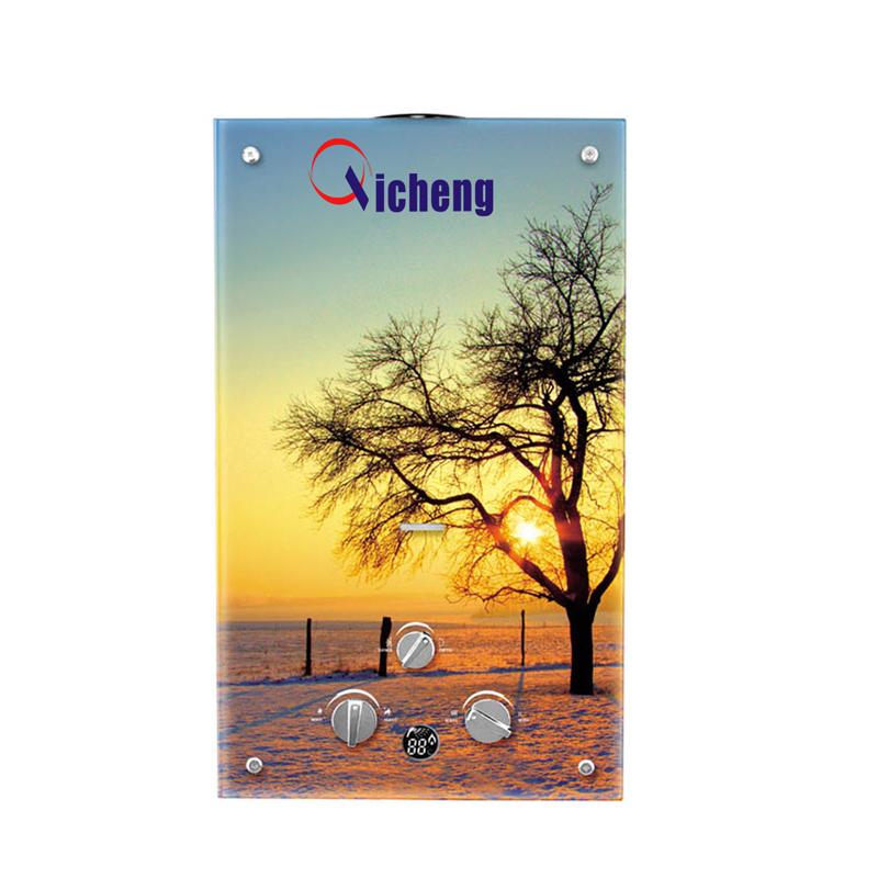 OEM-merk kleurrijk glaspaneel 10L gaswaterverwarmingstoestel